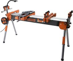 Folding Miter Saw Power Tool Stand with Wheels, Light, Vise and 4-Outlet 110V Power Strip Pro Portamate PM-7000. Heavy Duty Contractor Grade with Quick Attach Mounts and Plenty of Extra Features - - Amazon.com Cheap Power Tools, Power Hand Tools, Small Band Saw, Best Portable Air Compressor, Mitre Saw Stand, Tool Stand, Thing 1, Miter Saw, Woodworking Bench