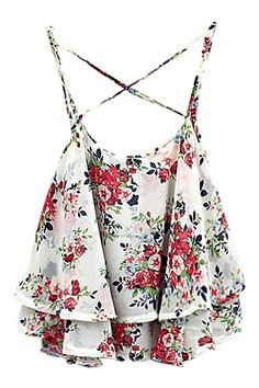 ROMWE | ROMWE Straps Flouncing Floral Print Cute White Vest, The Latest Street Fashion