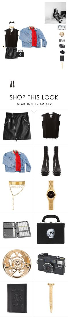 """""""zöe kravitz city summer look"""" by roo-elliss ❤ liked on Polyvore featuring Dsquared2, Marques'Almeida, Lee, Balenciaga, Shourouk, Nixon, Chome, Bertoni, Versace and Boston Traveler"""