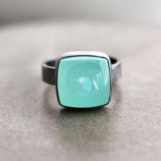 Aqua Chalcedony Ring, Seafoam Blue Green Chalcedony Oxidized Sterling Silver Ring - Made in Your Size - Windchill. $88.00, via Etsy.