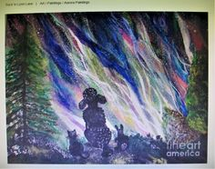 AURORA LIGHTS SHOW original painting features Aurora Borealis Northern Lights and a unique audience of a poodle, a cat, and a bunny for whimsical, fantasy enjoyment of art products or metal art, canvas prints, and more! ♥ #aurora #lights #northern #sky #poodle #cat #bunny #art #painting #rabbit #fantasy #whimsical #bright #original #stars