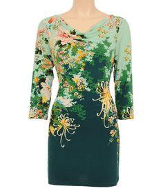 Jasper Green & Yellow Floral Drape Neck Dress #zulily #zulilyfinds