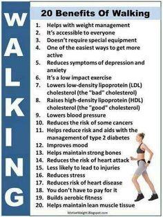 20 Benefits of Walking #fitnesstips #health #walking