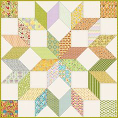 scrappy-carpenters-wheel, one block is whole quilt(7 inch diamonds) tutorial for 3 sizes