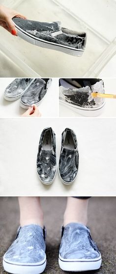 DIY marbled slip-on shoes. Vans slip-ons are perfect for this Batik 5bb84574f71