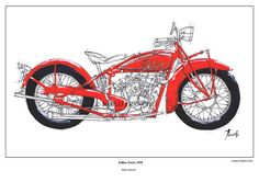 Motorcycle Portrait INDIAN SCOUT 1928  Original by drawspots #motorcycle #art #gift #giftforhim #gift #birthday #valentine #valentinesday #drawing