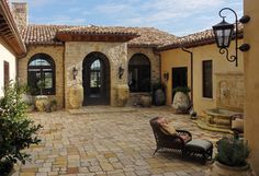 Exterior, Gorgeous Mediterranean Patio Stone Floor Classic Furniture Collection ~ Adorable Colonial House Exterior designs - Click the image to continue reading.
