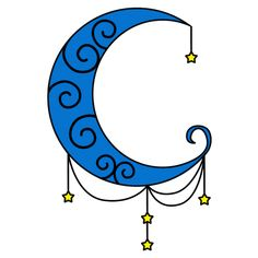 Blue Moon Tattoo with Stars for Girls - Indian Moon Clipart ❥❥❥ https://tattoosk.com/blue-moon-tattoo