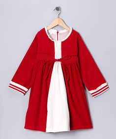 Take a look at this Red Pleated Corduroy Dress - Infant, Toddler & Girls by Powell Craft on #zulily today!