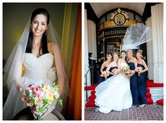www.weddingrowcalifornia.com | Bruce Forrester Photography | Navy bridesmaid dresses w/ bright bouquets