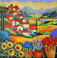 Haut Perché von Louise Marion - A Art - Art And Illustration, Illustrations, Landscape Art, Landscape Paintings, Landscapes, Art Fantaisiste, Naive Art, Mexican Folk Art, Canadian Artists