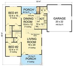 This 2 bedroom house plan makes a great starter home or a downsize option.The bedrooms share a bath and a powder room is tucked off the living room.Related Plan: Get an attached 2 car garage with house plan 2 Bedroom House Plans, Cottage Style House Plans, Cottage Style Homes, Cottage House Plans, Country House Plans, Cottage Design, Small House Plans, House Floor Plans, Open Floor Plans