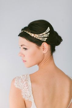 I love this unusual bridal headpiece