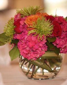Flowers, Reception, Pink, Green, Centerpiece, Orange, Yellow, Vibrant, Little girls big dream event planning design