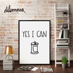 YES I CAN print // motivational inspirational print art // typography poster // wall decor