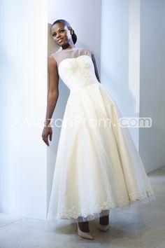 Elaborate A-line Bateau Ankle-length Appliques Wedding Dresses