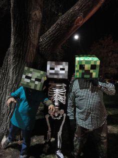Minecraft costumes: Zombie; Skeleton; Creeper