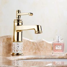 Free shipping high quality gold plated basin faucet deck mounted hot and cold bathroom faucet B-1037M