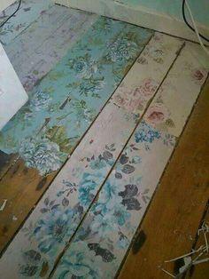 Painted floor, roses
