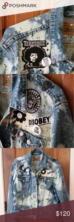 Customized denim jacket Jimi hendrix, ramones and other related patches. Some bleaching and some paint. Very unique. Levi's Jackets & Coats Jean Jackets