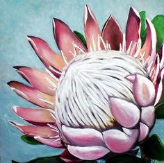 King Protea, Protea art, Protea painting, Oil painting by Carina van der Linde. Pallet knife and brush art.