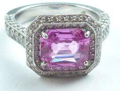 #jewelry Jack Kelege Designer Ring Pink Sapphire Set in Platinum with 152 VS-1 Diamond's please retweet