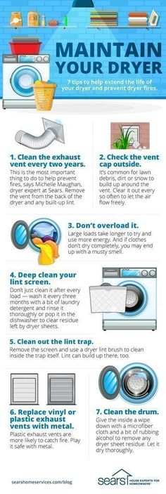 7 Dryer Maintenance Tips You Need to Know — Try these tips and hacks to help extend the life of your dryer, increase safety and make laundry day easier. Clean the exhaust vent every two years. Check the vent cap outside. Don't overload the dryer. Deep clean your lint screen. Clean out the lint trap. Replace vinyl or plastic exhaust vents with metal. Clean the drum. Follow these dryer maintenance tips to help extend the life of your dryer. Visit the Sears Home Services Knowledge Center for