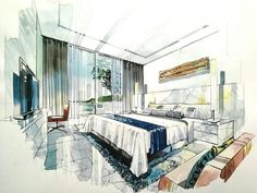 Home Decoration For Christmas Product Interior Architecture Drawing, Interior Design Renderings, Architecture Concept Drawings, Drawing Interior, Watercolor Architecture, Interior Rendering, Interior Sketch, Architecture Design, Layout
