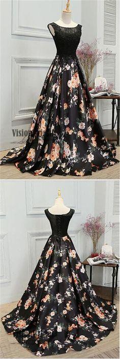 Black Lace Top Scoop Neckline Flower Printed Satin A-Line Long Prom Dress, Prom Dresses, VB0297 #promdress