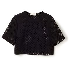 Double Crepe Suiting Cropped Blouse | Moda Operandi (8.290 ARS) ❤ liked on Polyvore featuring tops, blouses, crop tops, laser cut top, polka dot top, polka dot blouse, laser cut crop top and polka dot short sleeve blouse