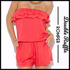 Ruffled Strapless Romper This on-trend versatile romper can be dressed up with wedges and accessories for a trendy chic look, or dressed down and comfortable for warning temperatures. It's in a dark coral color-perfect for the warming days of spring and summer. It has feminine ruffles at the bust line and an elastic waist. 100% rayon.    PLEASE DO NOT PURCHASE THIS LISTING. SIMPLY LEAVE A COMMENT INDICATING WHICH SIZE YOU WANT TO PURCHASE. I WILL THEN MAKE YOU A SEPARATE LISTING. NO TRADES…
