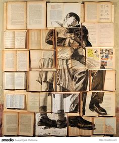 Rome-based Russian artist Ekaterina Panikanova uses open-faced books, carefully aligned with one another, as a large canvas for each of her paintings in a series titled Errata Corrige. Using old books and various antiquated texts, Panikanova proceeds to a Beautiful Collage, Beautiful Paintings, Deep Paintings, Acrylic Paintings, Beautiful Pictures, Illustration Arte, Instalation Art, Kunst Online, Collage Making