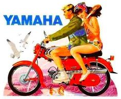 Yamaha 1964 Yamaha Bikes, Cool Motorcycles, Graphic Design Illustration, Illustration Art, Illustrations, Scooter Bike, Retro Bike, Motorcycle Posters, Drawing People