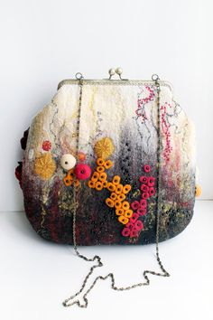Do not be afraid to be the center of attention! Richly decorated with beads, beads felted bag. feminine Lined with high-quality fabrics. Two pockets.