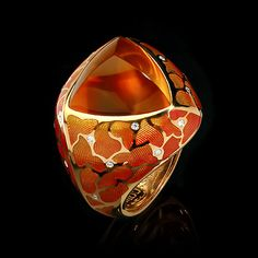 Mousson Atelier ring Four SeasonsYellow gold 750, Citrine 12.05 ct., Diamonds, Enamel