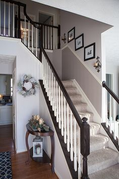 I finally tackled those outdated ugly orange oak stair banisters! What a difference it makes, right? It really is very easy to do, and it. Painted Staircases, Painted Stairs, Bannister Ideas Painted, Painted Stair Railings, Stained Staircase, Spiral Staircases, Stair Banister, Banisters, Replace Stair Railing