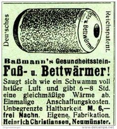 Original-Werbung/ Anzeige 1920 - BASSMANN'S FUSS - UND BETTWÄRMER / CHRISTIANSEN - NEUMÜNSTER - ca. 45 x 40 mm