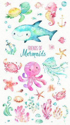 Watercolor clipart - friends of mermaids watercolor clip art fish jellyfish turtle sea octopus crab nautical underwater ocean pink shells babyshower Watercolor Animals, Watercolor Paintings, Scrapbooking Stickers, Mermaid Art, Watercolor Mermaid, Underwater World, Underwater Drawing, Cute Illustration, Nursery Art