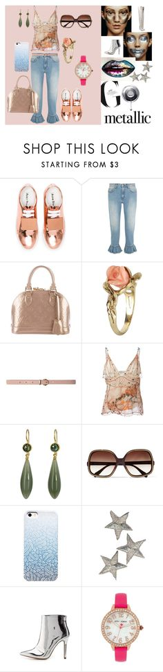 """""""Metallic"""" by nicks-1 ❤ liked on Polyvore featuring Acne Studios, MSGM, Louis Vuitton, Vintage, Dorothy Perkins, Christopher Kane, Mallary Marks, Oliver Peoples, Qupid and Betsey Johnson"""