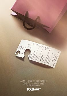 Association François-Xavier Bagnoud: Shopping A tiny fraction of your expenses could feed a hungry child. Advertising Agency: Publicis Conseil, France #ads #advertising #advertisement #marketing #poster #print #campaign #creative #creativity #child #children #shopping #association