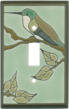 Hummingbird on Branch Ceramic Light Switch Plates, Outlet Covers, Wallplates