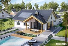 Find home projects from professionals for ideas & inspiration. Projekt domu Simon by Pracownia Projektowa ARCHIPELAG Design Exterior, Roof Design, Bungalow House Design, Solar House, Dream House Exterior, Modern House Plans, Design Case, Simple House, Home Fashion