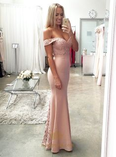 NextProm.com Offers High Quality Elegant Light Pink Off Shoulder Lace Embellished Mermaid Prom Dress ,Priced At Only USD $125.00 (Free Shipping)