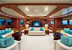 The sumptuous interior of luxury motor yacht Grace E