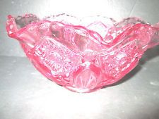 PINK Pressed CARNIVAL Glass Dish Bowl Iridescent  BEAUTIFUL