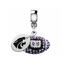 Kansas State Wildcats Crystal Football Drop Charm Fits All European Style Bracelets >>> Visit the image link more details.