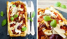 Puff pastry pizza... fetta, parmesan, ricotta, procuitto, tomatoes, mustard, oregano, thyme, basil. Recipe is French so make it up yourself