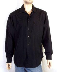 a97e6ecf9 euc Armani Exchange A/X Solid Black Button Down Dress Shirt pocket logo sz  XL