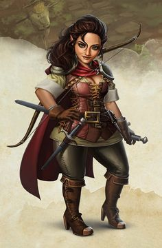 halfling archer, ranger, fighter Dnd Halfling, Halfling Rogue, Dungeons And Dragons Characters, Dnd Characters, Fantasy Characters, Fictional Characters, Female Dwarf, Female Gnome, Female Orc