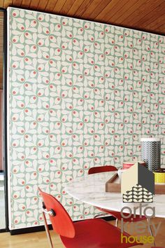 Buy Orla Kiely Acorn Spot Wallpaper from the Next UK online shop Spotted Wallpaper, Shotgun House, Wallpaper Please, Orla Kiely, Motif Design, Creating A Brand, Rental Property, Next Uk, Uk Online